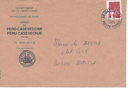 CORSE:Timbre De Carnet Marianne De Luquet Sur Lettre . MAIRIE DE PERU CASEVECHJE - Marcophilie (Lettres)