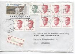 TP 2113-2203(8) Baudouin Velghe-2092 Europa S/L.recommandée C.Turnhout 21/10/91 V.Antwerpen AP2029 - Belgique