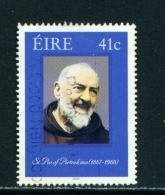 IRELAND  -  2002  Padre Pio  41c  Used As Scan - 1949-... Republic Of Ireland