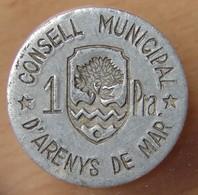 ESPAGNE Conseil Municipal D'ARENYS DE MAR 1 Pesetas - Monetary/Of Necessity
