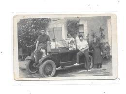 Carte Photo Automobile Ancienne Et Toute La Famille - Passenger Cars