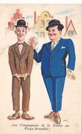 18/ Oude Getekende Kaart Laurel And Hardy, Les Compagnons De La Nouba Au Vieux-Bruxelles - Artistes
