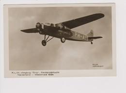 Vintage Rppc KLM K.L.M Royal Dutch Airlines Christmas Flight 1934 Fokker F-18 Aircraft - 1919-1938: Between Wars