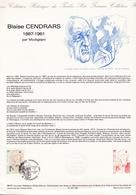 FRANCE 1987 Document Philatélique Officiel Blaise Cendras - Courbevoie - Documents Of Postal Services