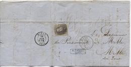 TP 6 S/LAC 3 Marges C.Gand 15/4/1859 Obl.à Barres 45v.Melle Pensionnat C.d'arrivée AP2033 - 1851-1857 Medaglioni (6/8)