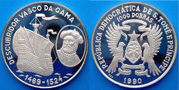 SAINT THOMAS & PRINCE 1000 D 1990 ARGENTO PROOF SCOPRITORE VASCO DA GAMA VELIERO ANTICO PESO 20g TITOLO 0,999 CONSERVAZI - Sao Tome And Principe