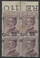 1923 Italia Italy Regno MICHETTI SOPRASTAMPATO 50c Su 55c Quartina Varietà 140h Firma E.Diena - 1900-44 Vittorio Emanuele III