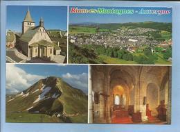 Riom-es-Montagnes (15) église Saint-Georges Et Intérieur Vue Générale Le Puy-Mary 2 Scans - France