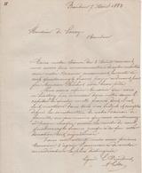 Jen. Lettre Concernant Un Caveau De Famille. Baudour Le 07/04/1882. - Belgique
