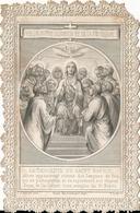 """Image Pieuse Façon Canivet N° 48 """"La Descente Du Saint Esprit"""" L J Hallez Berthiault Impr. Tours F. Ludy Sculpt. - Images Religieuses"""