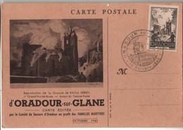 CM ORADOUR SUR GLANE 13 OCTOBRE 1945 REPRODUCTION GRAVURE RAOUL SERRES GRAND PRIX DE ROME AUTEUR TIMBRE POSTE - Cartes-Maximum