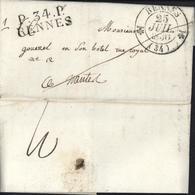 Marque Postale MP 1830 P34P Rennes En Noir CAD T12 Rennes 25 7 30 Pour Nantes Port Payé Dos Taxe Manuscrite 3 - Marcophilie (Lettres)