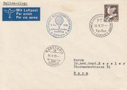Schweiz 1939: Ballon-Wettfliegen Zur EXPO Mit DESARMEMENT 60c. 1932 - Zu 189 Mi 254 Yv 258 Bis BÄRETSWIL 14.V.39 - Erst- U. Sonderflugbriefe