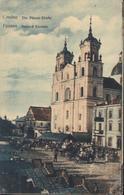 CPA Belarus Grodno Die Pfarrer Kirche Petit Marché Devant église Biélorussie Hrodna - Belarus