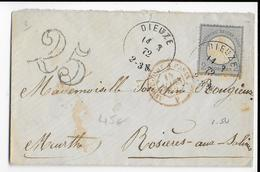 ALSACE LORRAINE ANNEXEE - 1872 - ENVELOPPE De DIEUZE (MOSELLE) Avec DOUBLE TAXE => ROSIERES (MEURTHE) - Alsace Lorraine