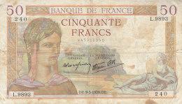 Billet 50 F Cérès Du 9-3-1939 FAY 18.23  Alph. L.9893 - 1871-1952 Antichi Franchi Circolanti Nel XX Secolo