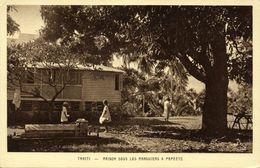 Tahiti, PAPEETE, House Under The Mango Trees (1930s) Mission Postcard - Tahiti