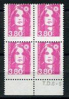 RC 9032 FRANCE N° 2625 - 3,80 BRIAT VARIÉTÉ PIQUAGE DÉCALÉ EN BLOC DE 4 NEUF ** MNH - 1989-96 Bicentenial Marianne