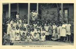 Tahiti, PAPEETE, School Of Young Girls (1930s) Mission Postcard - Tahiti