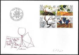 Liechtenstein: FDC, Le 4 Stagioni Della Vite, The 4 Seasons Of The Vine, Les 4 Saisons De La Vigne - Frutta