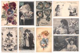 Lot De 84 CPA Fantaisie - Femmes Couples Fleurs Enfants Bonne Année - Fantaisies