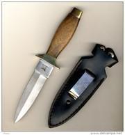 """Couteau Dit""""de Botte"""" Marque Léopard-longueur Totale 18.5cm-manche Palissandre-avec étuir Cuir - Armes Blanches"""