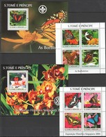 C545 2004 S.TOME E PRINCIPE BUTTERFLIES FLOWERS 2599-2608 MICHEL 50€ 2KB+2BL MNH - Schmetterlinge