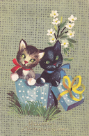 Carte Postale Ancienne,printed In Italy,édition Rhodania,heureux Anniversaire,chat,cat,cadeaux,chaton - Chats