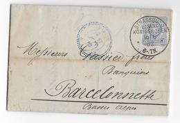 ALSACE LORRAINE ANNEXEE - 1882 - LETTRE DECOREE De La BRASSERIE (ETIQUETTE AU DOS) De STRASBOURG KÖNIGSHOFFEN - Elsass-Lothringen