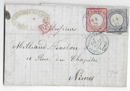 ALSACE LORRAINE ANNEXEE - 1872 - LETTRE De THANN => NIMES - Alsace Lorraine