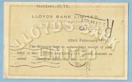 LLOYDS  BANK LIMITED  - 23rd February 1931   LONDON  -   Banque De L'Afrique Occidentale  PARIS  +++++ - United Kingdom