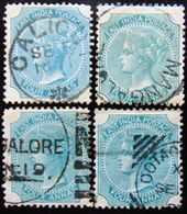 BRITISH INDIA 1866 4as Queen Victoria Used 4 Stamps - India (...-1947)