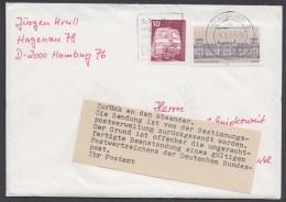 """Postkrieg, Mi-Nr. 1287, """"Reichstag"""", Zurück Mit Bundespostbenachrichtigung - BRD"""