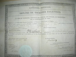 Diplôme Université Impériale à PARIS - Diplômes & Bulletins Scolaires