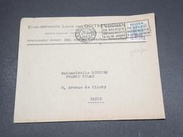 BELGIQUE - Type Albert 1er Surchargé, Perforé Sur Enveloppe Commerciale De Bruxelles Pour Paris En 1927 - L 18281 - Perfins