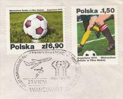 1978 POLAND Event COVER Departure FLIGHT WORLD CUP FOOTBALL TEAM  Soccer Sport Aviation - 1978 – Argentina