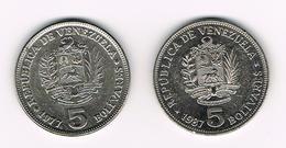 &  VENEZUELA  2 X 5   BOLIVARES  1977/87 - Venezuela