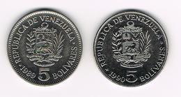&  VENEZUELA  2 X 5   BOLIVARES  1989/90 - Venezuela