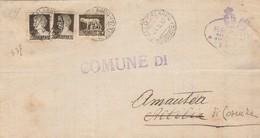 Aiello Calabro. 1937. Annullo Guller + Ovale, Su Lettera Con C.10 X 2 + .5. All'interno  AMANTEA (COSENZA) Riaffrancata - Storia Postale