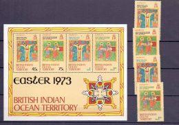 1973 BIOT - Easter -Manuscript Of 17 Th Century  -MS +4v Set MNH**   Mi KB 50-53 + B1  (bsh) - British Indian Ocean Territory (BIOT)