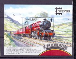 1996 St.Helena - PostTransport - Trains / Zug Locomotive - CAPEX 96 Toronto - MS / Block - B 17 - MNH** (bsh) - St. Helena