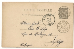 RIVE DE GIER Loire Sur ENTIER SAGE Pour LA BELGIQUE. - Postmark Collection (Covers)