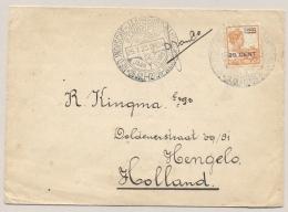 Nederlands Indië - 1923 - 20 Cent Opdrukzegel Met Propaganda Stempel Jaarbeurs Bandoeng  BANDOENG Naar Hengelo / NL - Nederlands-Indië