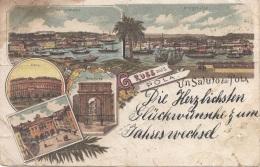 Litho Gruss Aus POLA, Karte Gel.1898, Sehr Selten, Starke Transport U. Gebrauchsspuren S.Scan - Österreich