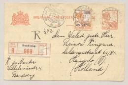 Nederlands Indië - 1923 - 12,5 Cent Briefkaart + 20 Cent Opdrukzegel AANGETEKEND Van Bandoeng Naar Hengelo / NL - Nederlands-Indië