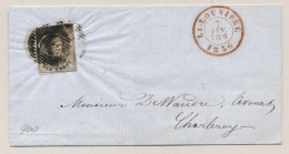 België - 1856 - 10c Leopold I Op Gevouwen Omslagje Van La Louviere Naar Charleroy - 1851-1857 Medallions (6/8)