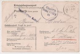 STAMMLAGER XVIII A Allemagne. PRISONNIER DE GUERRE Pour RIBERAC. 1942.  Censure 54. - Marcophilie (Lettres)