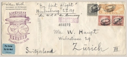 USA / Deutschland - 1936 - First Zeppelin Flight Cover LZ 129 Hindenburg From Lakehurst To Frankfurt (Machine Cancel) - Covers & Documents