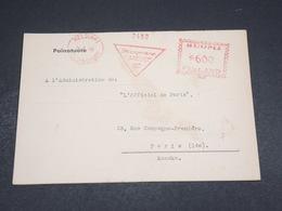FINLANDE - Carte Lettre Commerciale De Helsinki Pour Paris En 1949 , Affranchissement Mécanique - L 18336 - Finland