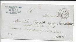 1871 - LETTRE De La 1° DIVISION MILITAIRE - SERVICE De La JUSTICE - TEXTE ! - PARIS MONTROUGE - Marcofilia (sobres)